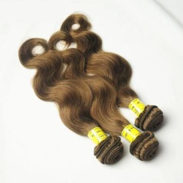 Luxury Body Wave Peruvian Light Brown #8 Virgin Human 7A Hair Extensions Weave