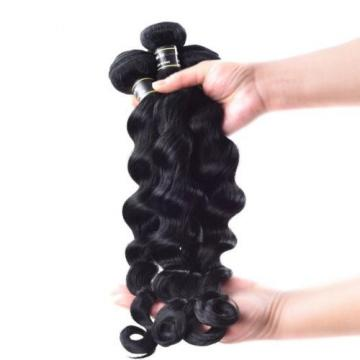 Luxury Jet Black #1 Loose Wave Peruvian Virgin Human Hair Extensions 7A Wavy