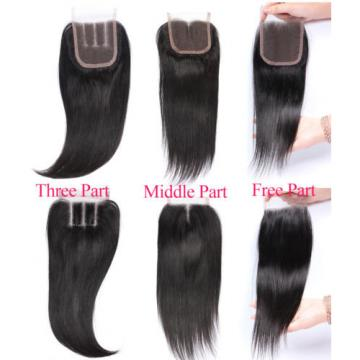 "Peruvian Virgin Human Hair Straight 4""*4"" 1PC Lace Closure with 4 Bundles Hair"