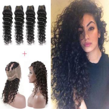 360 Lace Frontal Closure With 4 Bundles Peruvian Virgin Human Hair Deep Wave