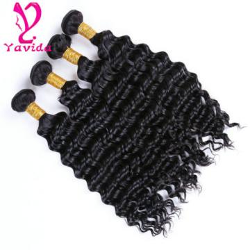 Virgin Peruvian Deep Wave Curly Human Hair Extensions Weave Weft 400g/4Bundles