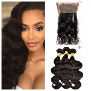 Peruvian Virgin Hair Body Wave Weft 3 Bundles 300g with 360 Lace Frontal Closure