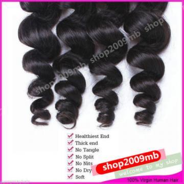4 Bundles Loose Wave Curly Peruvian Virgin Hair Human Hair Extensions Weave Weft
