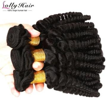 7A Peruvian Afro Curly Virgin Hair Weave 3 Bundles 300g Human Hair Extension