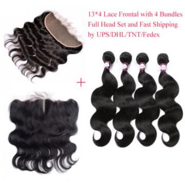 13*4 Lace Frontal Closure with 4Bundles Peruvian Virgin Hair Body Wave Full Head