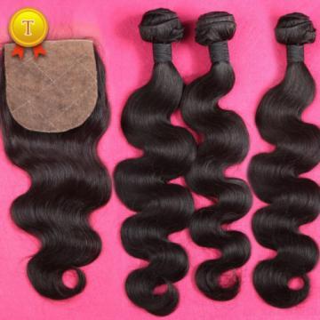 Peruvian Virgin Hair 8A Grade 3 Bundles With Silk Base Closure Body Wave Hair
