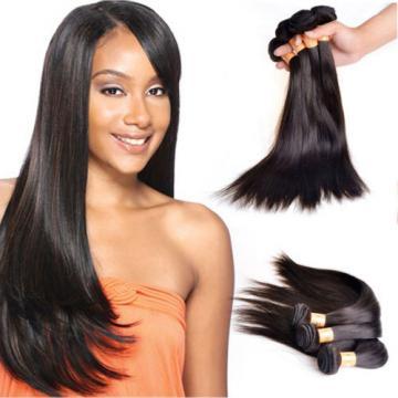 "4 Bundles 18"" Remy Virgin Peruvian Straight Human Hair Weave Extensions 200g"