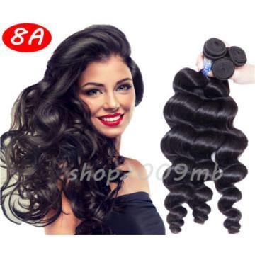 8A 3 Bundles Loose Wave Curly Peruvian Virgin Human Hair Extensions Weave Weft