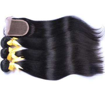 100% Peruvian Virgin Human Hair Straight 4*4 Lace Closure with 3 Bundles 350g