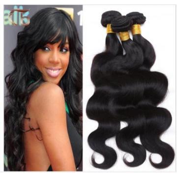"4P 16"" 18""Wave Virgin Hair Weave Peruvian Hair Bundles 100%Human Hair Extensions"