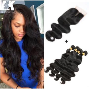 4 Bundles Body wave Hair Weft with Lace Closure Virgin Peruvian Human Hair Weave