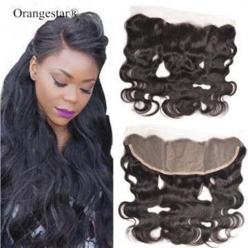 Peruvian Body Wave 13x4 Virgin Black Silk Base Lace Frontal Closure Human Hair