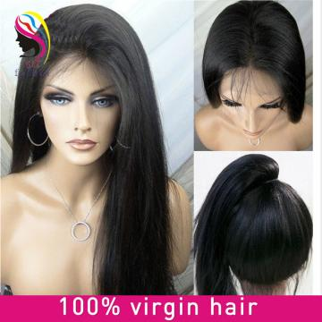 Brazilian 180 density natural color black straight human hair, full lace wig
