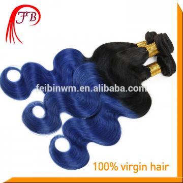 beautiful 1b blue hair human hair body wave ombre remy hair
