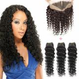 7A Brazilian Virgin Hair with Closure 360Lace Frontal with Bundle Deep Wave Hair