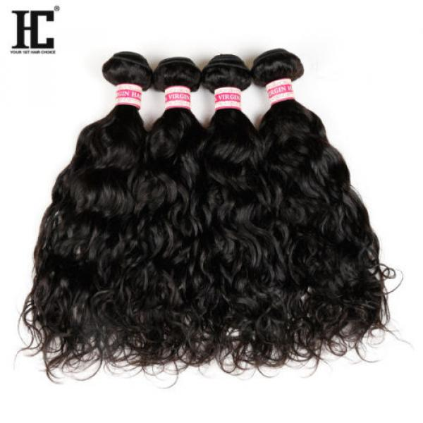 Grade 7a Natural Water Wave Brazilian Wavy Virgin Human Hair Extensions Weave HC #3 image