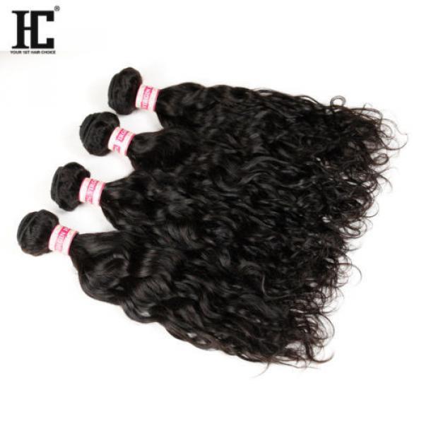 Grade 7a Natural Water Wave Brazilian Wavy Virgin Human Hair Extensions Weave HC #4 image
