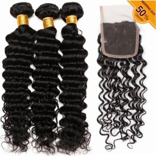 7A Brazilian Human Virgin Hair Deep Curly Wave 3 Bundles With 4*4 Lace Closure #1 image