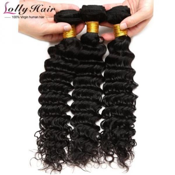 7A Brazilian Human Virgin Hair Deep Curly Wave 3 Bundles With 4*4 Lace Closure #2 image