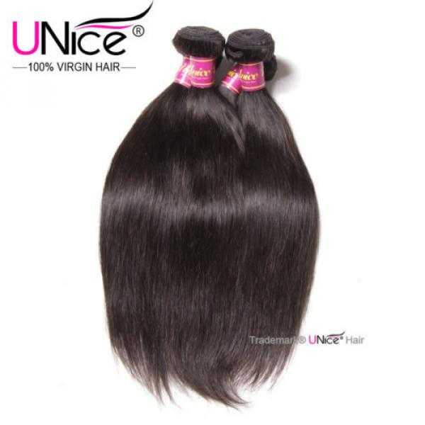 "8""~30"" Brazilian Virgin Hair Straight UNice Brazilian Human Hair Weave 4 Bundles #5 image"