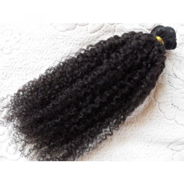 Brazilian Human Hair Kinky Curly Extensions Natural Black Weft Virgin Hair Weave #1 image