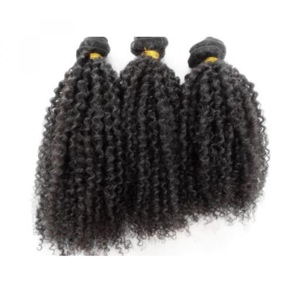Brazilian Human Hair Kinky Curly Extensions Natural Black Weft Virgin Hair Weave #2 image