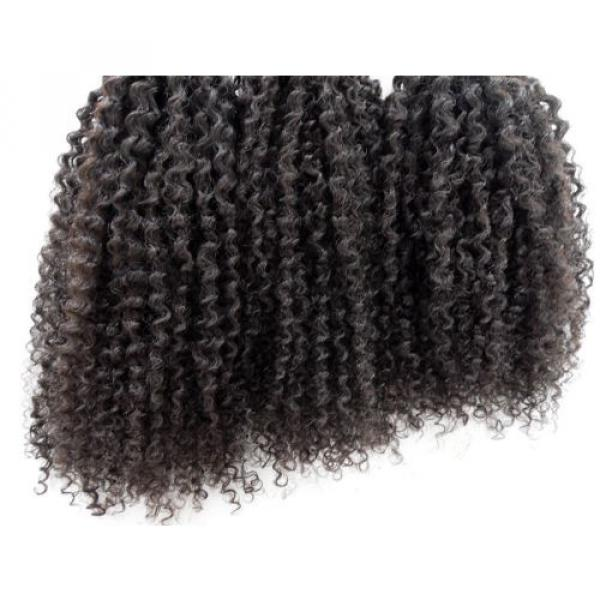 Brazilian Human Hair Kinky Curly Extensions Natural Black Weft Virgin Hair Weave #3 image