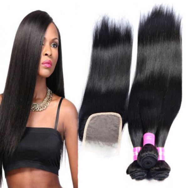 Brazilian Virgin Hair 3Bundles with Lace Closure Straight Human Hair Weft Weave #1 image