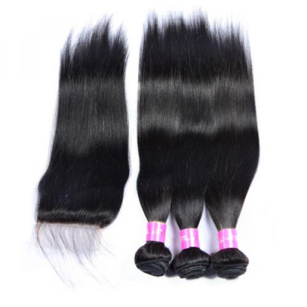 Brazilian Virgin Hair 3Bundles with Lace Closure Straight Human Hair Weft Weave #2 image