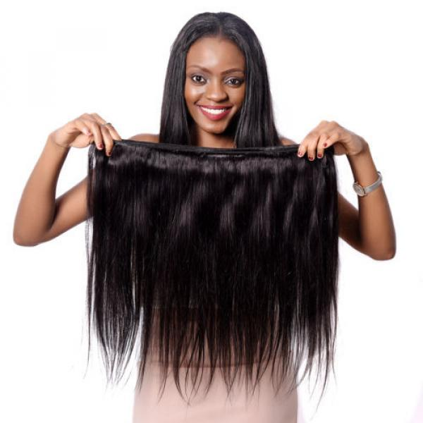 Brazilian Virgin Hair 3Bundles with Lace Closure Straight Human Hair Weft Weave #5 image