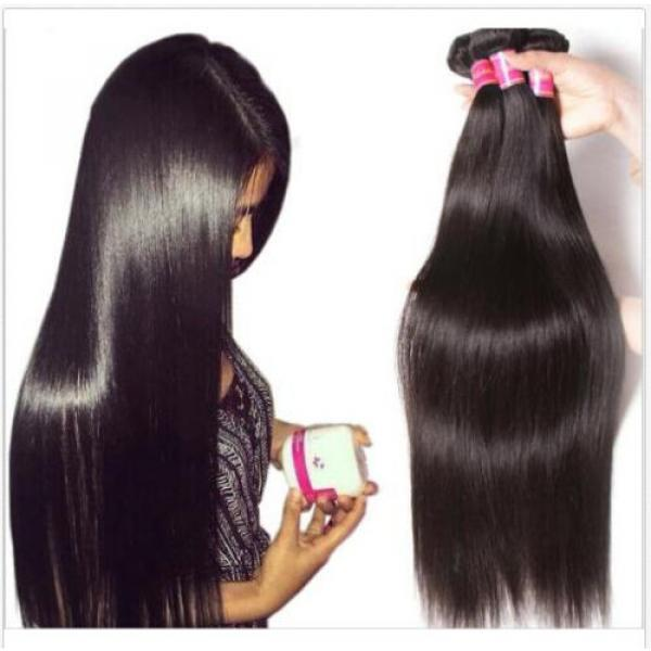 "4 Bundles 16"" Remy Virgin Brazilian Straight Human Hair Weave Extension 200g all #1 image"