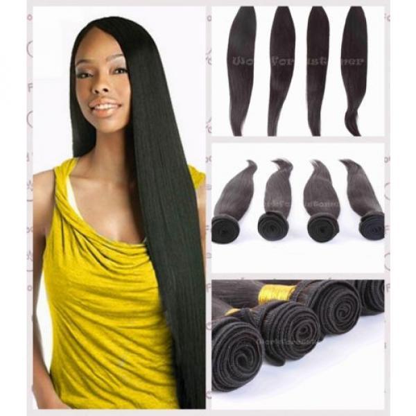 "4 Bundles 16"" Remy Virgin Brazilian Straight Human Hair Weave Extension 200g all #2 image"