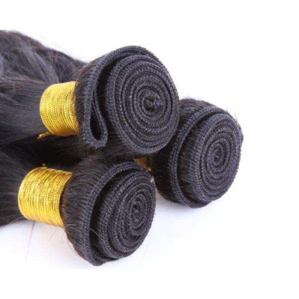 "4 Bundles 16"" Remy Virgin Brazilian Straight Human Hair Weave Extension 200g all #5 image"