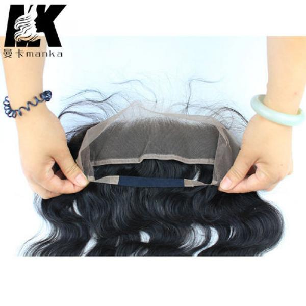 Wavy Brazilian Virgin Hair 360 Lace Frontal with Natural Hair Line Baby Hair #3 image
