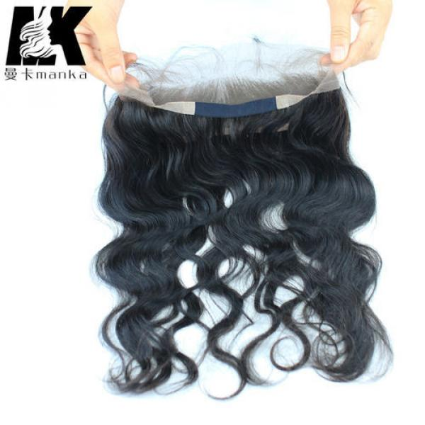 Wavy Brazilian Virgin Hair 360 Lace Frontal with Natural Hair Line Baby Hair #4 image