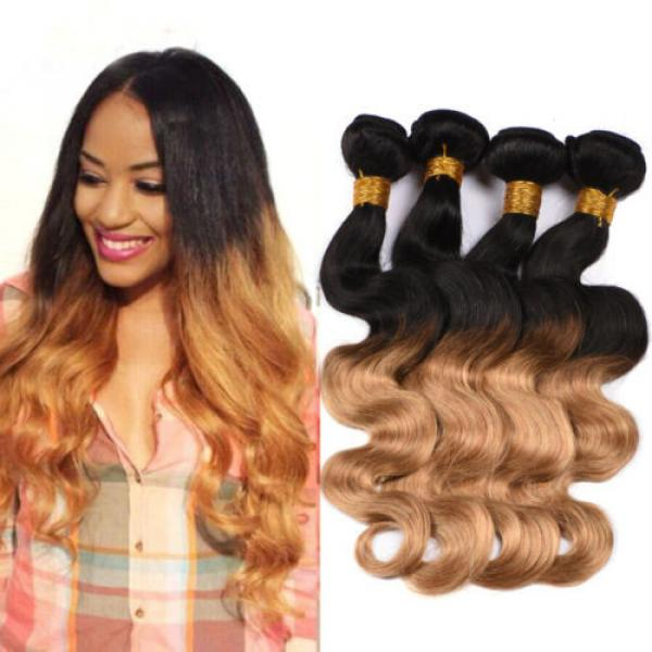 4Bundles Unprocessed Virgin Peruvian Human Hair Extension Ombre Color Body Wave #1 image