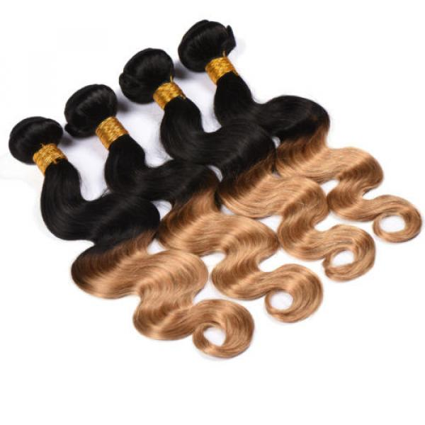 4Bundles Unprocessed Virgin Peruvian Human Hair Extension Ombre Color Body Wave #4 image