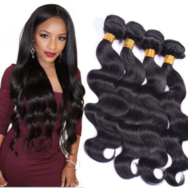 Grade 7A Peruvian Virgin Hair Body Wave 4bundles lot 100% Human Hair Weaving #1 image