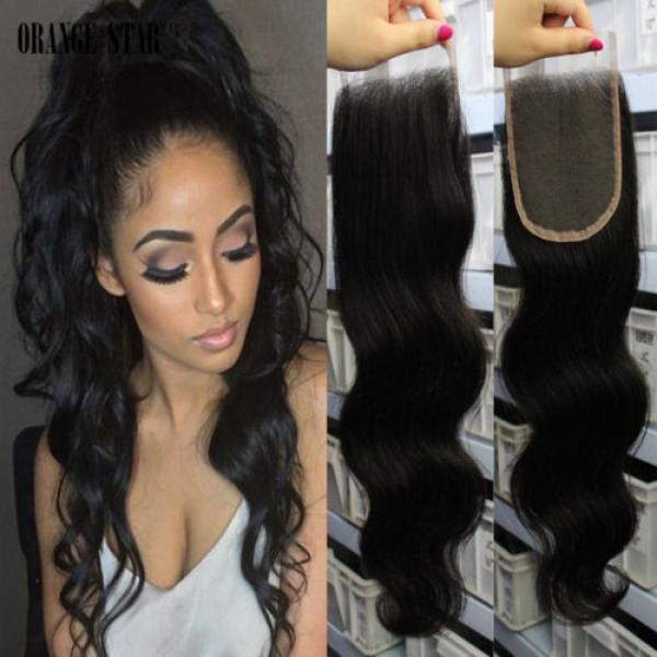 4''x4'' Hot 3 parts lace closures virgin Peruvian hair Swiss lace bleached knots #1 image
