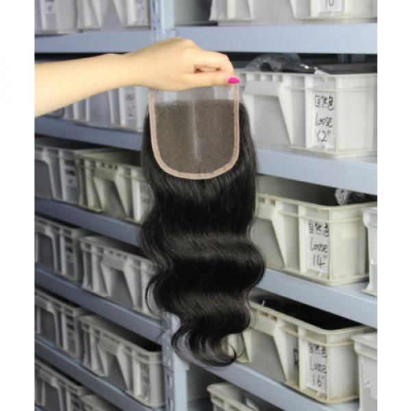 4''x4'' Hot 3 parts lace closures virgin Peruvian hair Swiss lace bleached knots #5 image