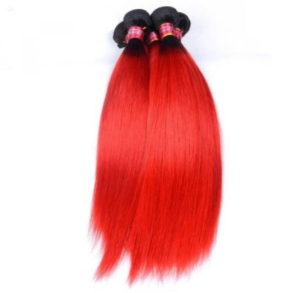 Luxury Peruvian Straight Dark Roots Hot Red Ombre Virgin Human Hair Extensions #1 image