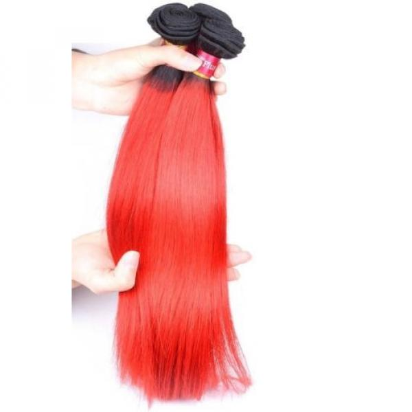Luxury Peruvian Straight Dark Roots Hot Red Ombre Virgin Human Hair Extensions #2 image