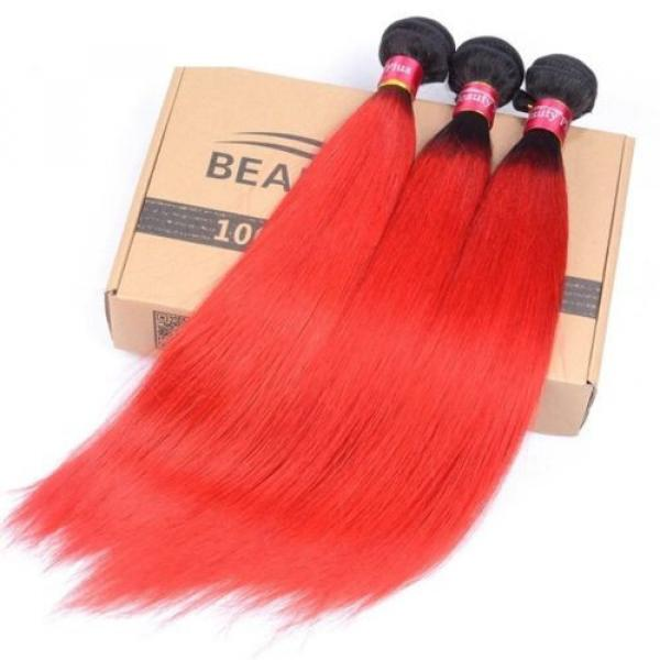 Luxury Peruvian Straight Dark Roots Hot Red Ombre Virgin Human Hair Extensions #3 image