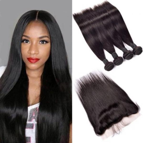 300g/3bundles virgin peruvian straight human hair 20,22,24 &13x4 lace frontal 18 #1 image
