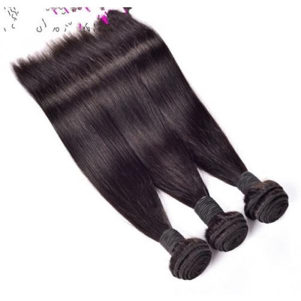 300g/3bundles virgin peruvian straight human hair 20,22,24 &13x4 lace frontal 18 #2 image