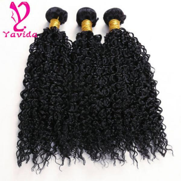THICK 7A 300g Kinky Curly 3 Bundles Peruvian Virgin Human Hair Weave Weft #2 image