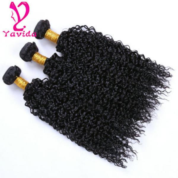THICK 7A 300g Kinky Curly 3 Bundles Peruvian Virgin Human Hair Weave Weft #4 image