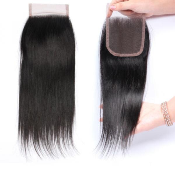 "4""x4"" Peruvian 8A Virgin Remy Human Hair Unprocessed Silk Straight Lace Closure #1 image"