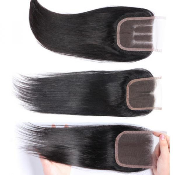 "4""x4"" Peruvian 8A Virgin Remy Human Hair Unprocessed Silk Straight Lace Closure #3 image"