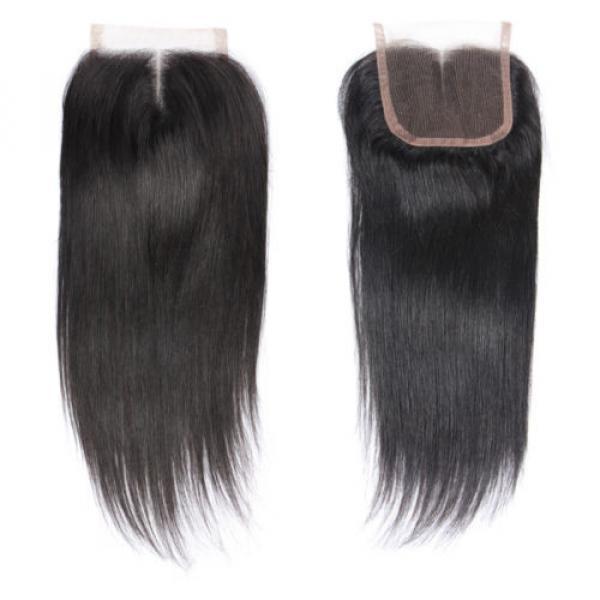 "4""x4"" Peruvian 8A Virgin Remy Human Hair Unprocessed Silk Straight Lace Closure #4 image"